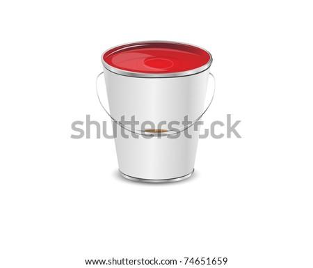 metallic bucket vector, 10eps - stock vector