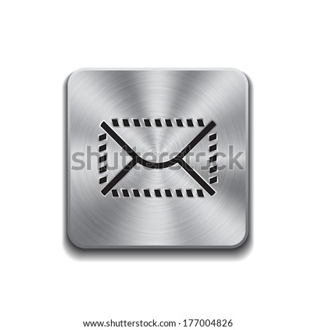 Metallic button with mail icon on a white background - stock vector