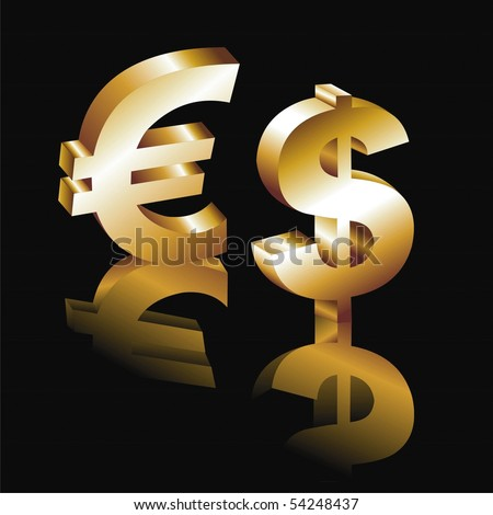 Metallic character of the dollar and euro on a black background for your design - stock vector