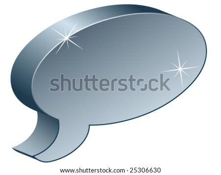 metallic chat box - stock vector