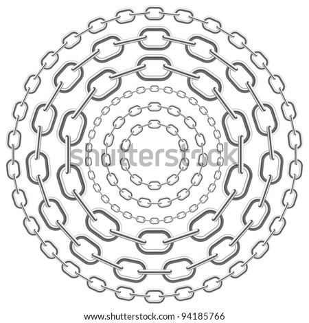 metallic circle chains isolated on white background. Vector illustration. - stock vector