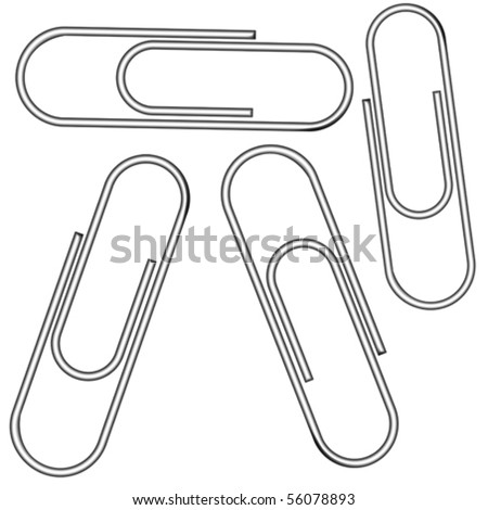 metallic clips against white background, abstract vector art illustration - stock vector