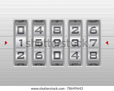 Metallic combination lock with five number. Vector illustration. - stock vector