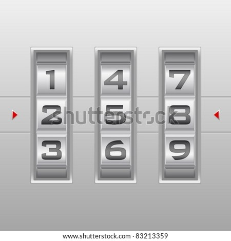 Metallic combination lock with three number. Vector illustration. - stock vector