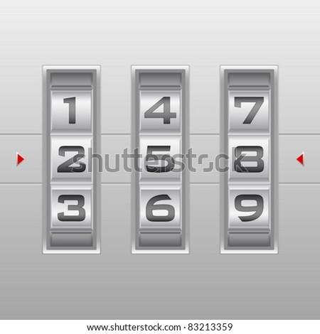 Metallic combination lock with three number. Vector illustration. - stock vector