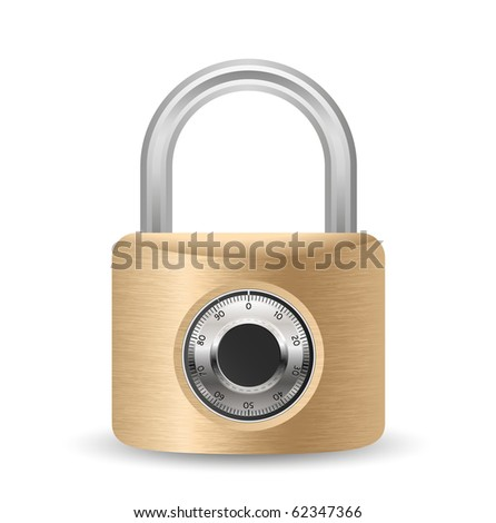 Metallic combination padlock - stock vector