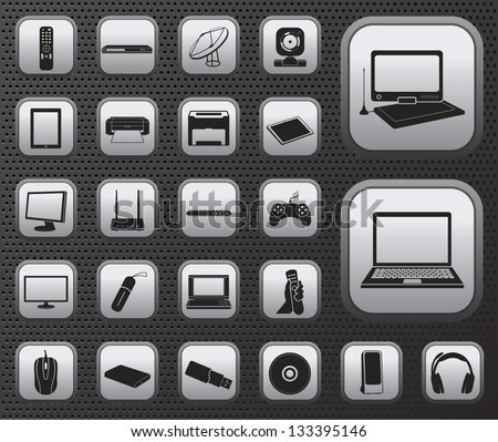 metallic computer, electronic device, tv and media vector set of web icons buttons