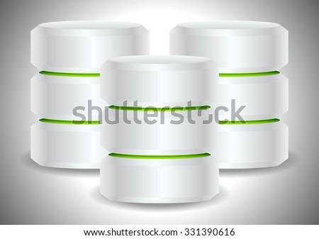 Metallic cylinders. Hard disk drive, HDD, server, hosting, database concept - stock vector