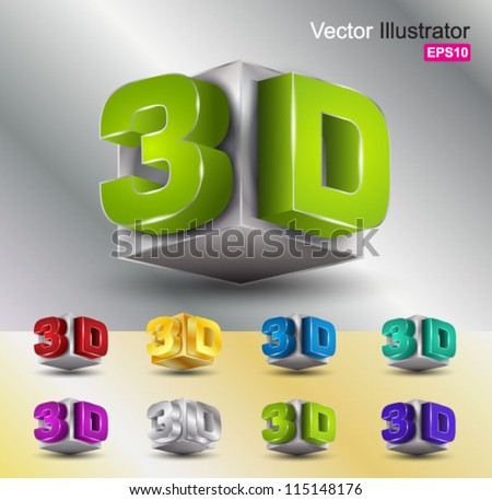 metallic 3d  vector color - stock vector