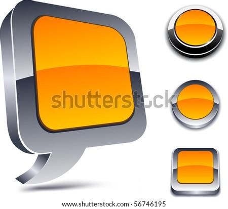 Metallic 3d vibrant orange icons. - stock vector