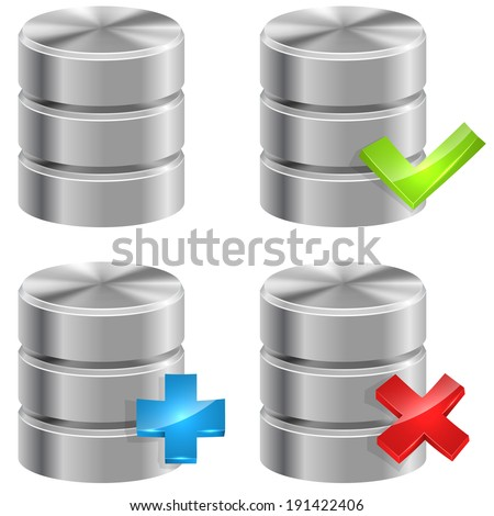 Metallic database icons isolated on white background. - stock vector