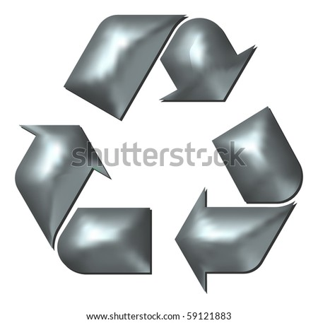 Metallic Embossed Silver Recycling Sign - stock vector