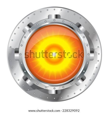 Metallic energy generator, radioactive nucleus construction element on top, eps10 isolated - stock vector