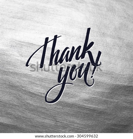 Metallic foil shining calligraphy Thank you poster card. Vector Silver Print Paint Stain Design - stock vector