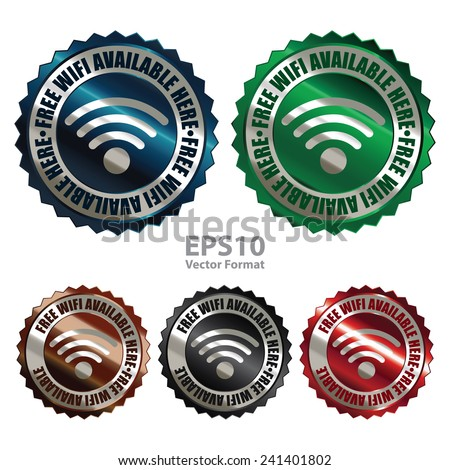 Metallic free wifi available here icon, tag, label, badge, sign, sticker isolated on white , vector format - stock vector