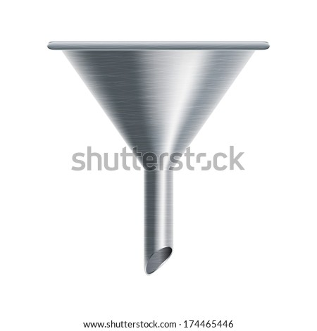 metallic funnel isolated on white background - vector illustration - stock vector