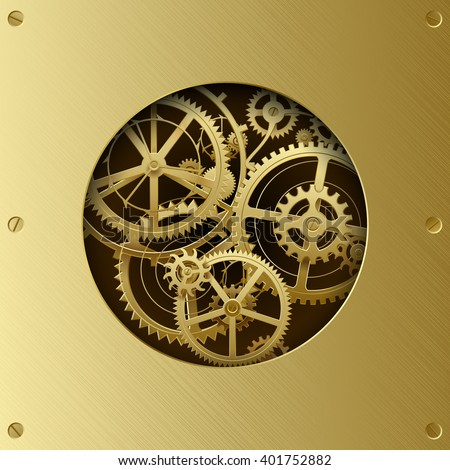 Metallic gear wheels in the brass plate with cut round hole. Circle with gears. Techno background. Vector Illustration - stock vector