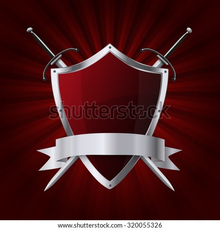 Metallic glittering shield and two swords with ribbon on red rays background - stock vector