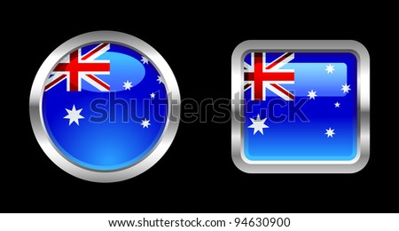 Metallic Glossy Flag series - Australia - stock vector