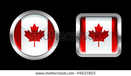 Metallic Glossy Flag series - Canada - stock vector