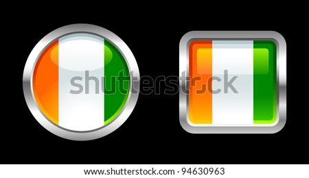 Metallic Glossy Flag series - Cote D'ivoire - stock vector