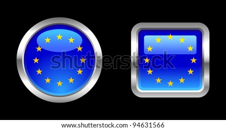 Metallic Glossy Flag series - European Union - stock vector