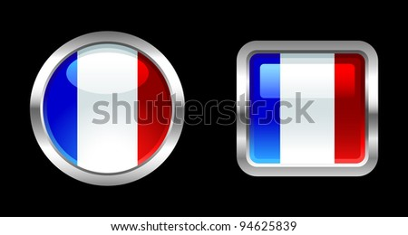 Metallic Glossy Flag series -  France - stock vector