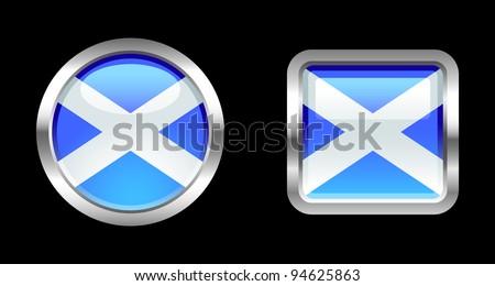 Metallic Glossy Flag series - Scotland - stock vector