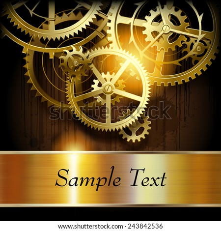 Metallic gold banner and  gear wheels on dark dirty surface with blots. Technical background. Vector illustration - stock vector