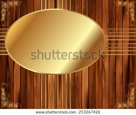 Metallic gold frame on wooden background for your design - stock vector