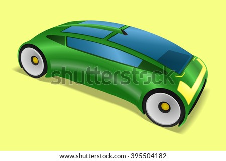 metallic green futuristic design vehicle, future automobile, electric vehicle, concept car, mirrorless car, vector illustration - stock vector