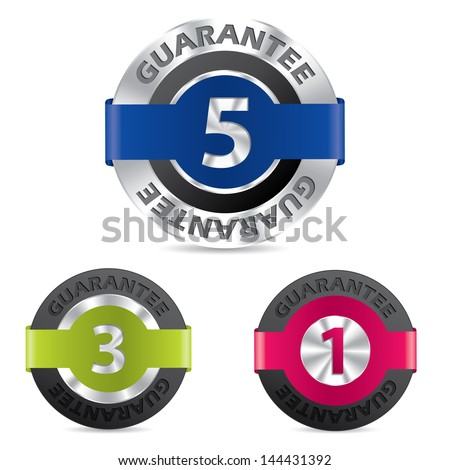 Metallic guarantee badges with different terms shown by numbers - stock vector