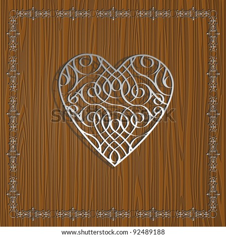 Metallic heart on wooden background for Valentines day design - stock vector