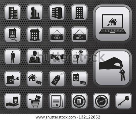 metallic houses and real estate vector web icons buttons set with reflections on dark background - stock vector