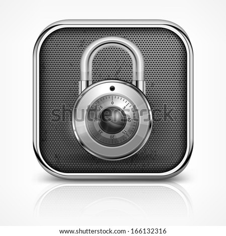 Metallic icon with round padlock on white, vector illustration - stock vector