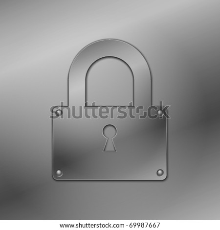 Metallic lock. Vector illustration. - stock vector