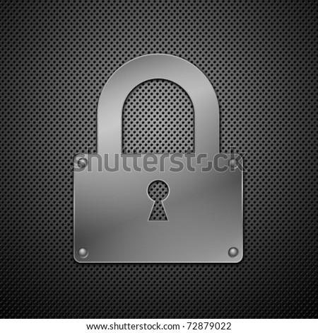 metallic lock. Vector illustration. - stock vector