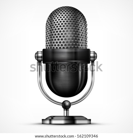 Metallic microphone isolated on white background, vector illustration - stock vector