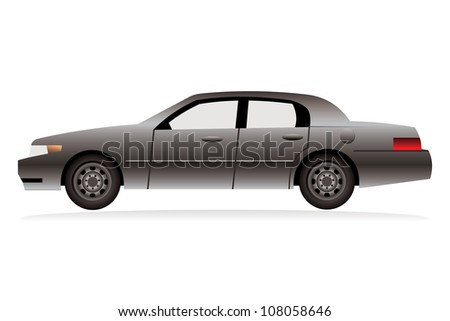 metallic painted limousine, isolated on white background