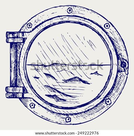 Metallic porthole. Doodle style - stock vector