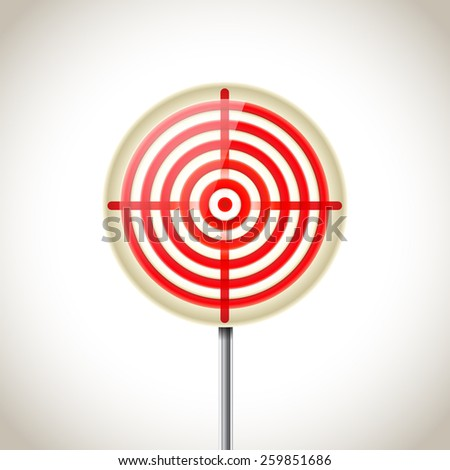 metallic red target sign - stock vector