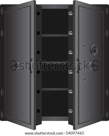metallic safe. vector illustration for web - stock vector
