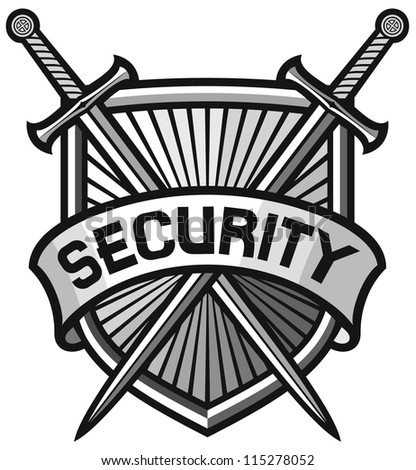 metallic security shield (security sign, security symbol, secure coat of arms) - stock vector