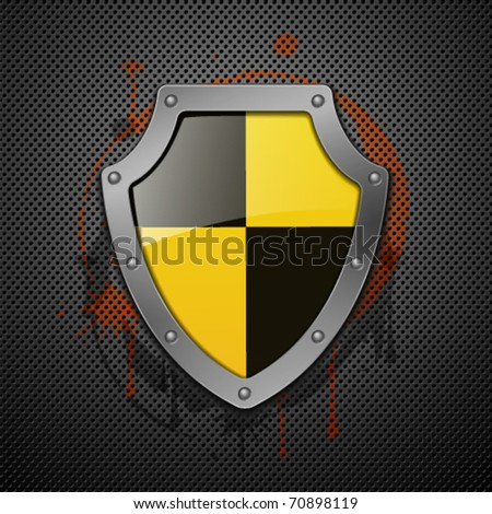 Metallic shield on a metal background. - stock vector