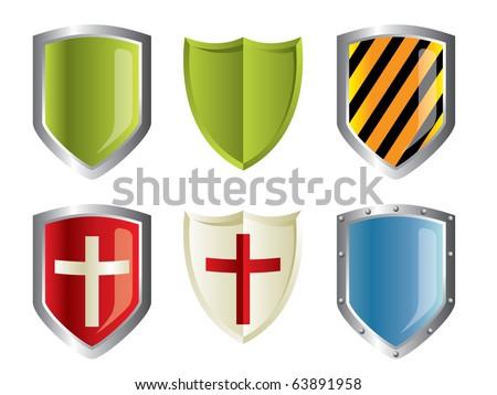 Metallic shiny shields set - stock vector