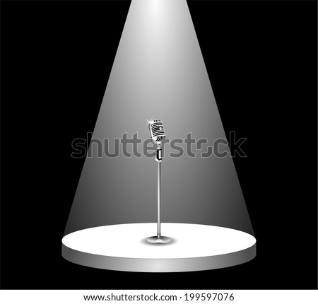 Metallic silver microphone standing on an empty stage under the light of spotlight. beam of light on the podium in the dark, shines mic. vector art image illustration, isolated on black background - stock vector