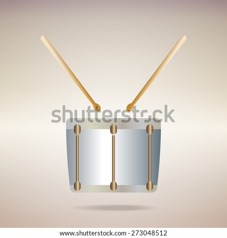 metallic snare drum  icon on golden background.Vector EPS 10 - stock vector