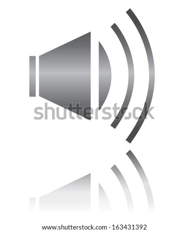 Metallic speaker icon. Abstract isolated speaker icon on white. Easy to edit eps10 vector design. - stock vector