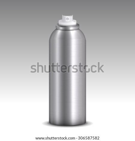 Metallic spray can model vector without lid on gradient background