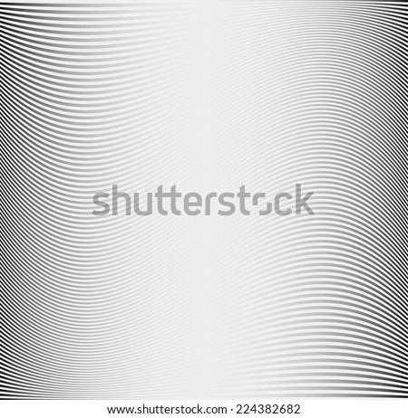 Metallic texture or pattern with thin wavy lines. Grey vector background - stock vector